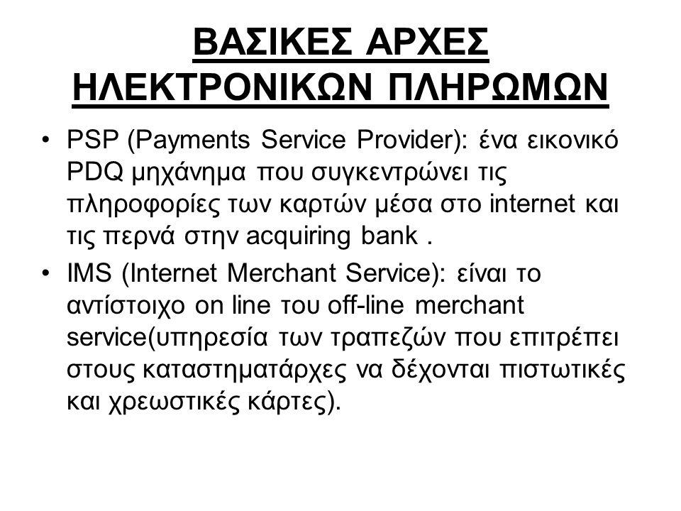 ΒΑΣΙΚΕΣ ΑΡΧΕΣ ΗΛΕΚΤΡΟΝΙΚΩΝ ΠΛΗΡΩΜΩΝ •PSP (Payments Service Provider): ένα εικονικό PDQ μηχάνημα που συγκεντρώνει τις πληροφορίες των καρτών μέσα στο i