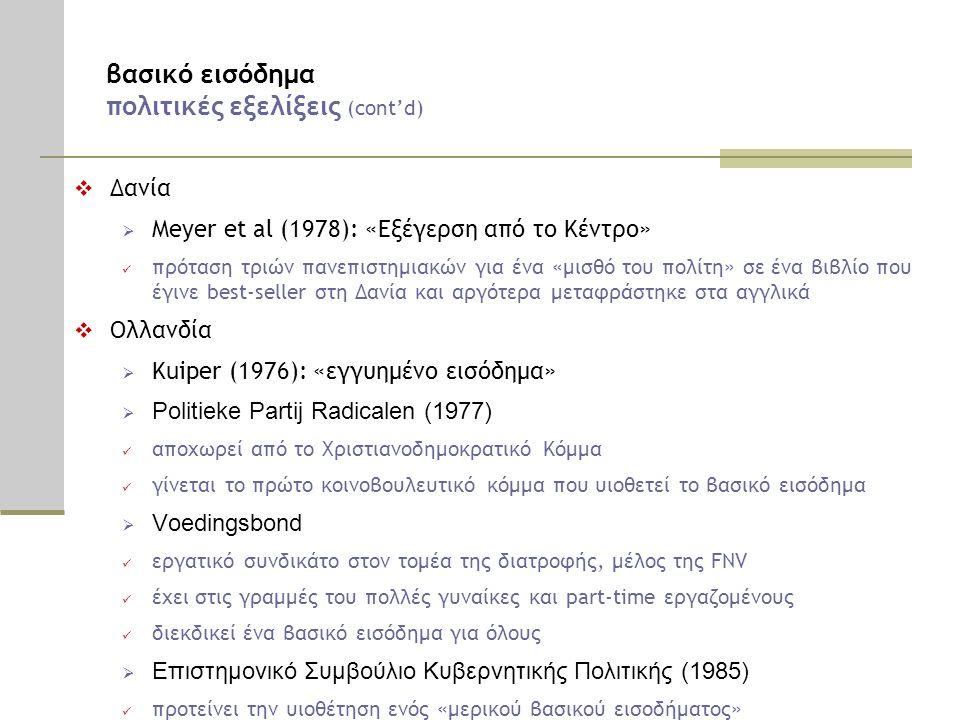 βασικό εισόδημα πολιτικές εξελίξεις (cont'd)  Δανία  Meyer et al (1978): «Εξέγερση από το Κέντρο»  πρόταση τριών πανεπιστημιακών για ένα «μισθό του πολίτη» σε ένα βιβλίο που έγινε best-seller στη Δανία και αργότερα μεταφράστηκε στα αγγλικά  Ολλανδία  Kuiper (1976): «εγγυημένο εισόδημα»  Politieke Partij Radicalen (1977)  αποχωρεί από το Χριστιανοδημοκρατικό Κόμμα  γίνεται το πρώτο κοινοβουλευτικό κόμμα που υιοθετεί το βασικό εισόδημα  Voedingsbond  εργατικό συνδικάτο στον τομέα της διατροφής, μέλος της FNV  έχει στις γραμμές του πολλές γυναίκες και part-time εργαζομένους  διεκδικεί ένα βασικό εισόδημα για όλους  Επιστημονικό Συμβούλιο Κυβερνητικής Πολιτικής (1985)  προτείνει την υιοθέτηση ενός «μερικού βασικού εισοδήματος»