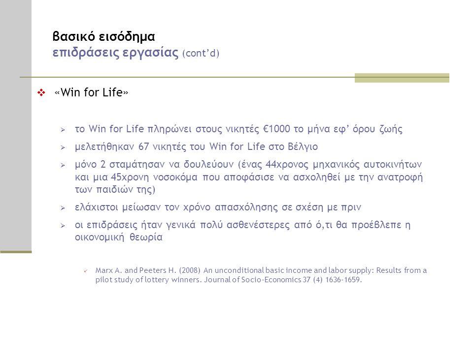 βασικό εισόδημα επιδράσεις εργασίας (cont'd)  «Win for Life»  το Win for Life πληρώνει στους νικητές €1000 το μήνα εφ' όρου ζωής  μελετήθηκαν 67 νικητές του Win for Life στο Βέλγιο  μόνο 2 σταμάτησαν να δουλεύουν (ένας 44χρονος μηχανικός αυτοκινήτων και μια 45χρονη νοσοκόμα που αποφάσισε να ασχοληθεί με την ανατροφή των παιδιών της)  ελάχιστοι μείωσαν τον χρόνο απασχόλησης σε σχέση με πριν  οι επιδράσεις ήταν γενικά πολύ ασθενέστερες από ό,τι θα προέβλεπε η οικονομική θεωρία  Marx A.