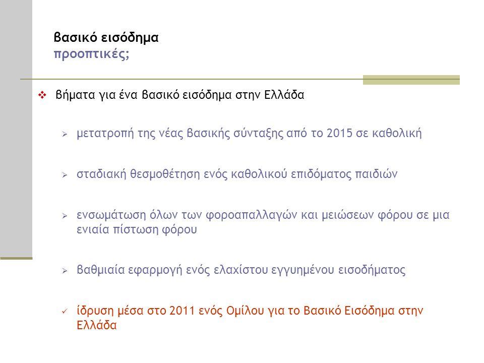 βασικό εισόδημα προοπτικές;  βήματα για ένα βασικό εισόδημα στην Ελλάδα  μετατροπή της νέας βασικής σύνταξης από το 2015 σε καθολική  σταδιακή θεσμοθέτηση ενός καθολικού επιδόματος παιδιών  ενσωμάτωση όλων των φοροαπαλλαγών και μειώσεων φόρου σε μια ενιαία πίστωση φόρου  βαθμιαία εφαρμογή ενός ελαχίστου εγγυημένου εισοδήματος  ίδρυση μέσα στο 2011 ενός Ομίλου για το Βασικό Εισόδημα στην Ελλάδα