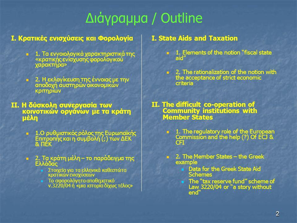 3 Γενικοί στόχοι Ευρωπαϊκής Κοινότητας   Απομάκρυνση φορολογικών εμποδίων για την ομαλή λειτουργία της κοινής αγοράς (market-based economy, level playing field)   Ενίσχυση στόχων Λισσαβόνας   Επίτευξη βιώσιμης μείωσης του συνολικού βάρους σε φορολογουμένους   Συνέχεια καταπολέμησης επιζήμιου φορολογικού ανταγωνισμού «…στο δρόμο για την φορολογική εναρμόνιση στην Ευρώπη, τα κοινοτικά όργανα χρησιμοποιούν πληθώρα εργαλείων, με ειδική αναφορά στις θεμελιώδεις ελευθερίες και τους κανόνες για τις κρατικές ενισχύσεις»
