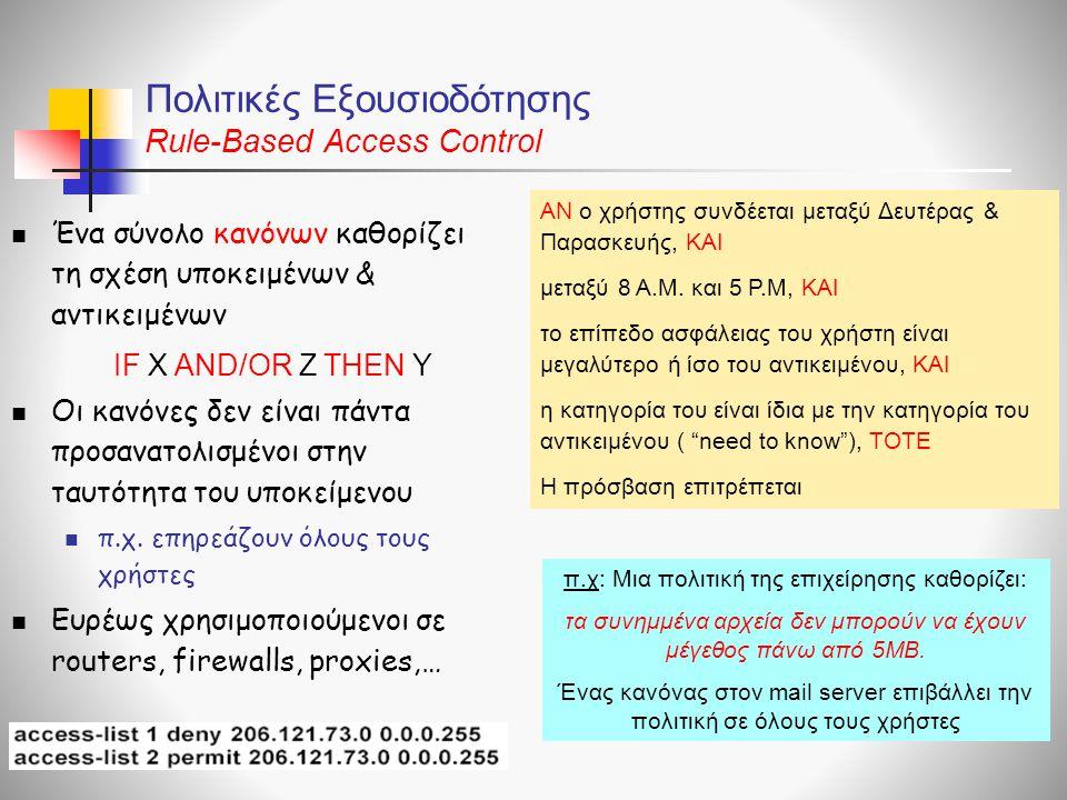 Πολιτικές Εξουσιοδότησης Rule-Based Access Control  Ένα σύνολο κανόνων καθορίζει τη σχέση υποκειμένων & αντικειμένων  Οι κανόνες δεν είναι πάντα προ