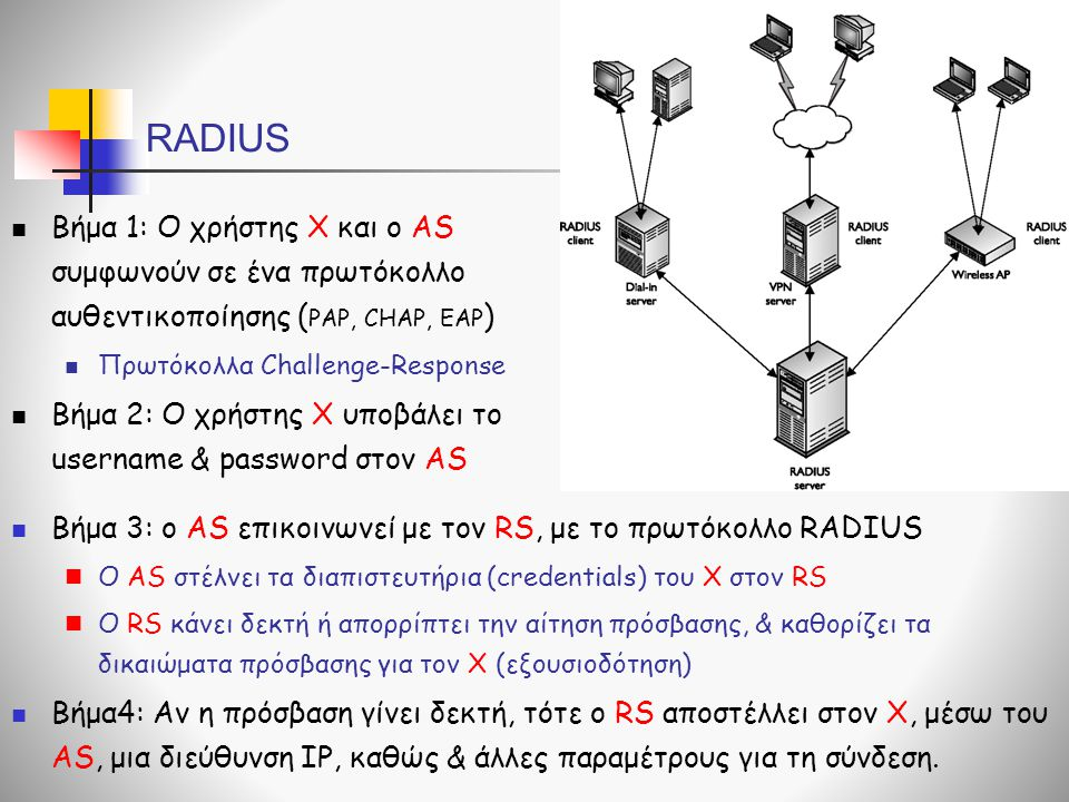 RADIUS  Βήμα 1: Ο χρήστης Χ και ο AS συμφωνούν σε ένα πρωτόκολλο αυθεντικοποίησης ( PAP, CHAP, EAP )  Πρωτόκολλα Challenge-Response  Βήμα 2: Ο χρήσ