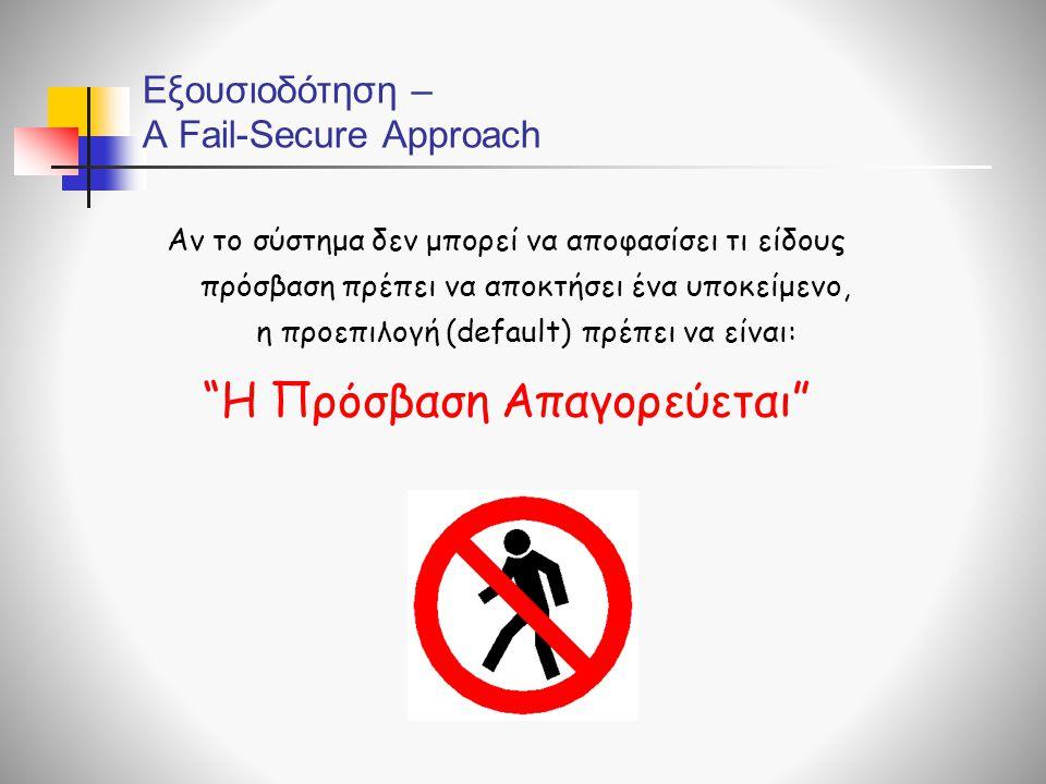 Εξουσιοδότηση – A Fail-Secure Αpproach Αν το σύστημα δεν μπορεί να αποφασίσει τι είδους πρόσβαση πρέπει να αποκτήσει ένα υποκείμενο, η προεπιλογή (def