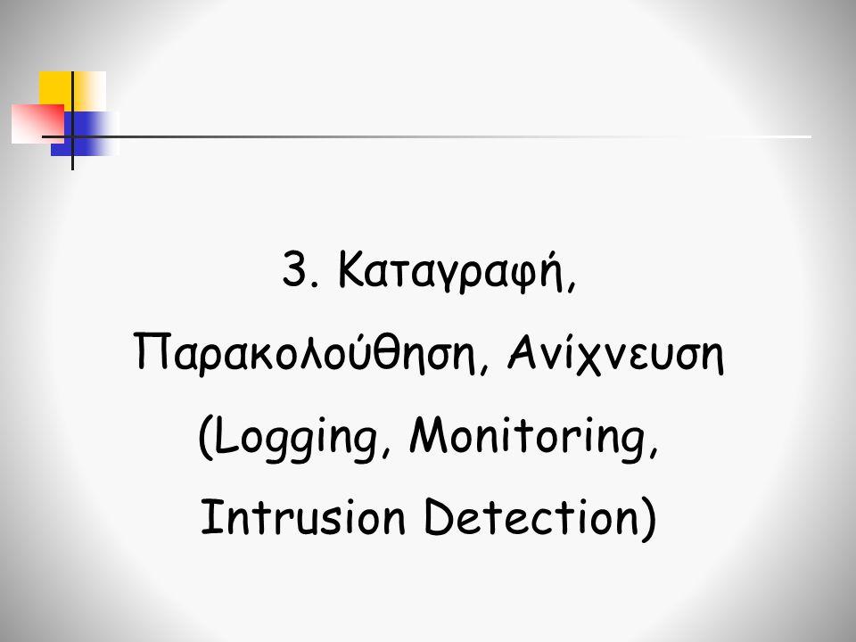 3. Καταγραφή, Παρακολούθηση, Ανίχνευση (Logging, Monitoring, Intrusion Detection)