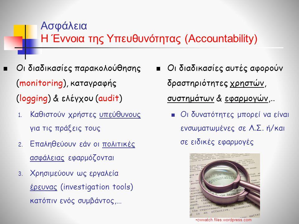 Ασφάλεια Η Έννοια της Υπευθυνότητας (Accountability)  Οι διαδικασίες παρακολούθησης (monitoring), καταγραφής (logging) & ελέγχου (audit) 1. Καθιστούν