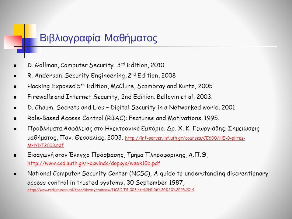 Βιβλιογραφία Μαθήματος  D. Gollman, Computer Security. 3 rd Edition, 2010.  R. Anderson. Security Engineering, 2 nd Edition, 2008  Hacking Exposed