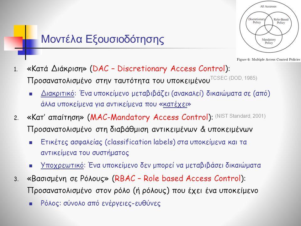 Μοντέλα Εξουσιοδότησης 1. «Κατά Διάκριση» (DAC – Discretionary Access Control): Προσανατολισμένο στην ταυτότητα του υποκειμένου  Διακριτικό: Ένα υποκ