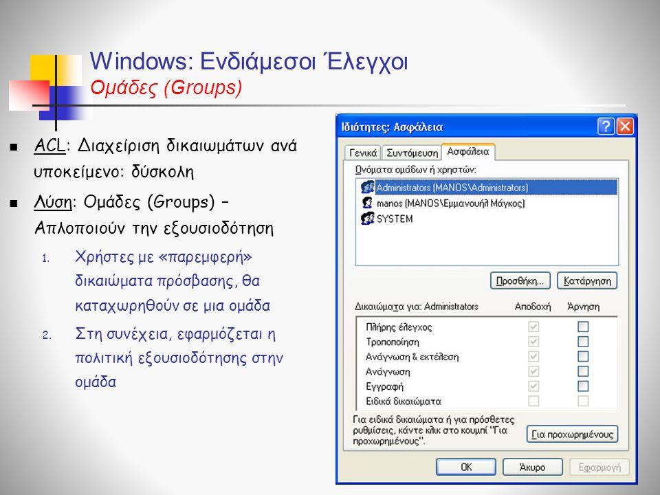 Windows: Ενδιάμεσοι Έλεγχοι Ομάδες (Groups)  ACL: Διαχείριση δικαιωμάτων ανά υποκείμενο: δύσκολη  Λύση: Ομάδες (Groups) – Απλοποιούν την εξουσιοδότη