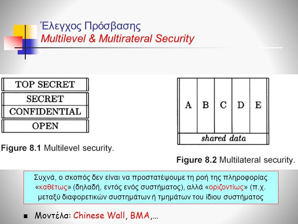 Έλεγχος Πρόσβασης Multilevel & Multirateral Security  Μοντέλα: Chinese Wall, BMA,… Συχνά, ο σκοπός δεν είναι να προστατέψουμε τη ροή της πληροφορίας