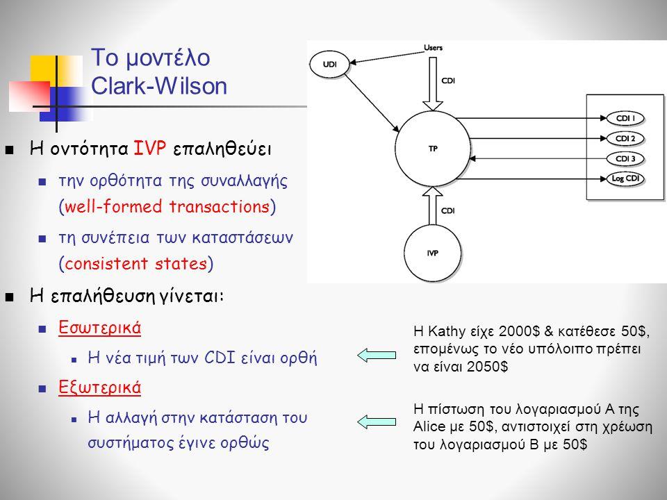 To μοντέλο Clark-Wilson  Η οντότητα IVP επαληθεύει  την ορθότητα της συναλλαγής (well-formed transactions)  τη συνέπεια των καταστάσεων (consistent