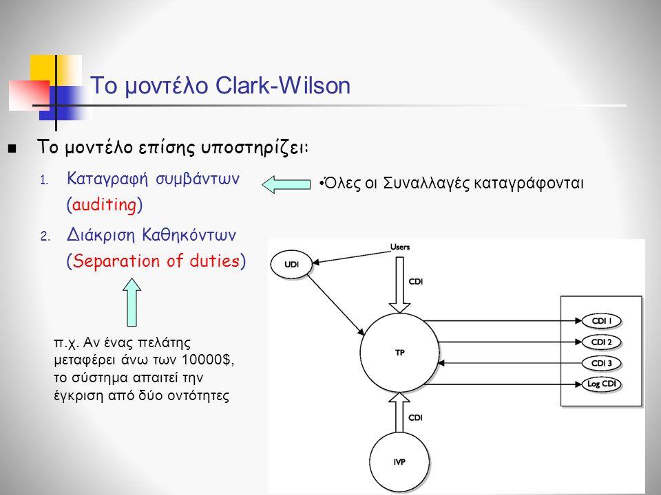To μοντέλο Clark-Wilson  Το μοντέλο επίσης υποστηρίζει: 1. Καταγραφή συμβάντων (auditing) 2. Διάκριση Καθηκόντων (Separation of duties) π.χ. Αν ένας