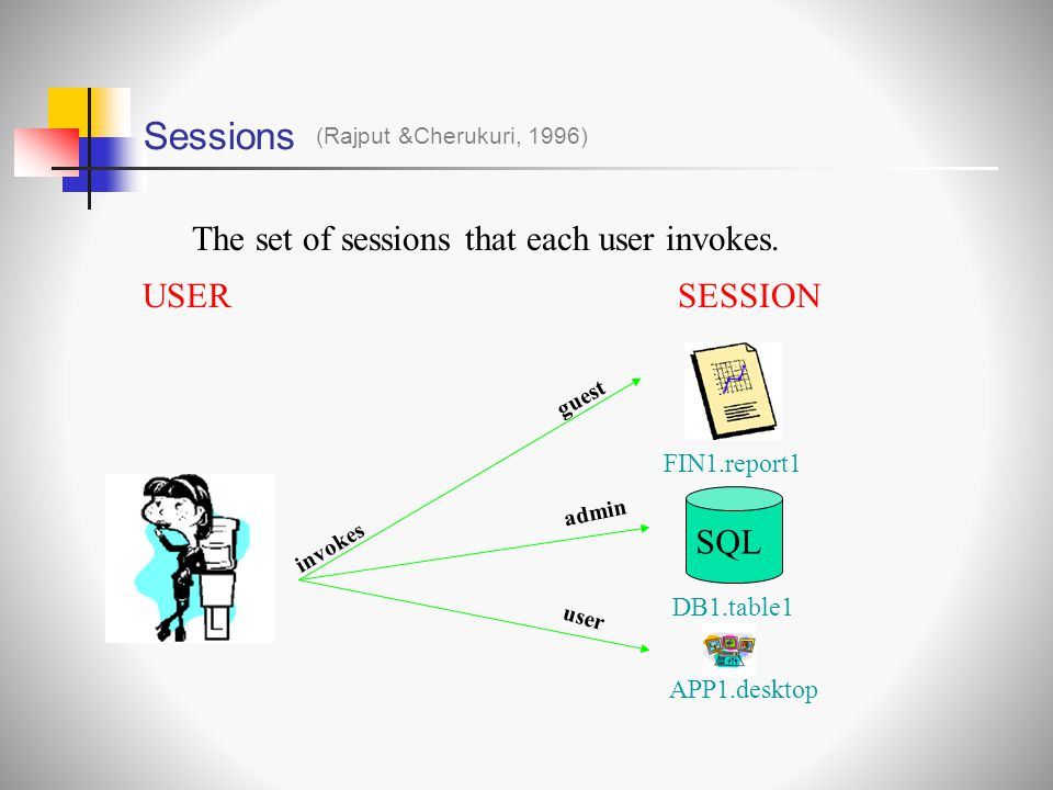 Sessions (Rajput &Cherukuri, 1996) The set of sessions that each user invokes.