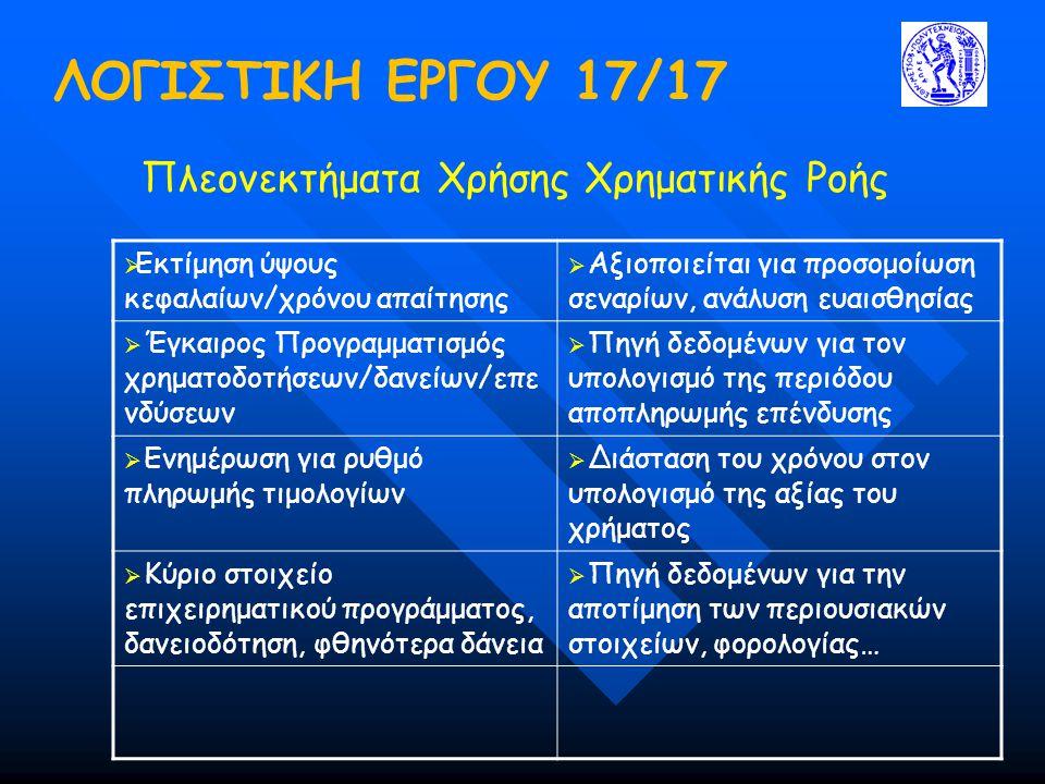 ΛΟΓΙΣΤΙΚΗ ΕΡΓΟΥ 17/17 Πλεονεκτήματα Χρήσης Χρηματικής Ροής  Εκτίμηση ύψους κεφαλαίων/χρόνου απαίτησης  Αξιοποιείται για προσομοίωση σεναρίων, ανάλυση ευαισθησίας  Έγκαιρος Προγραμματισμός χρηματοδοτήσεων/δανείων/επε νδύσεων  Πηγή δεδομένων για τον υπολογισμό της περιόδου αποπληρωμής επένδυσης  Ενημέρωση για ρυθμό πληρωμής τιμολογίων  Διάσταση του χρόνου στον υπολογισμό της αξίας του χρήματος  Κύριο στοιχείο επιχειρηματικού προγράμματος, δανειοδότηση, φθηνότερα δάνεια  Πηγή δεδομένων για την αποτίμηση των περιουσιακών στοιχείων, φορολογίας…