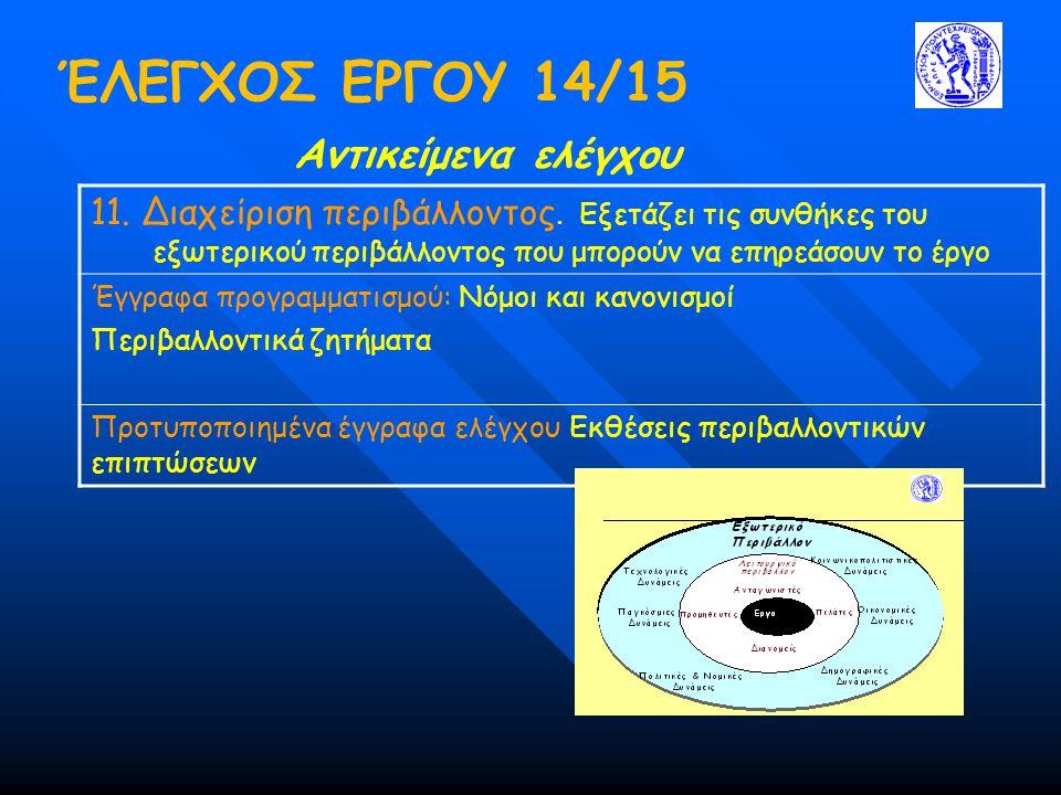 ΈΛΕΓΧΟΣ ΕΡΓΟΥ 14/15 Αντικείμενα ελέγχου 11.Διαχείριση περιβάλλοντος.