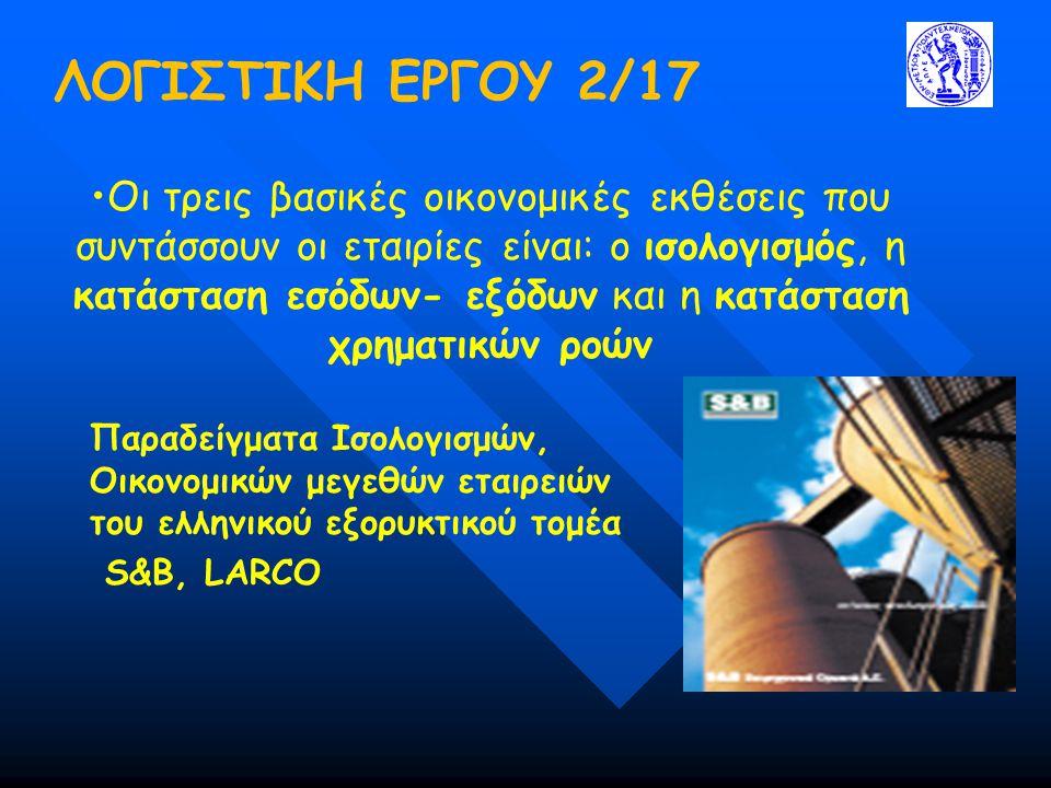 ΛΟΓΙΣΤΙΚΗ ΕΡΓΟΥ 2/17 Παραδείγματα Ισολογισμών, Οικονομικών μεγεθών εταιρειών του ελληνικού εξορυκτικού τομέα S&B, LARCO •Οι τρεις βασικές οικονομικές εκθέσεις που συντάσσουν οι εταιρίες είναι: ο ισολογισμός, η κατάσταση εσόδων- εξόδων και η κατάσταση χρηματικών ροών