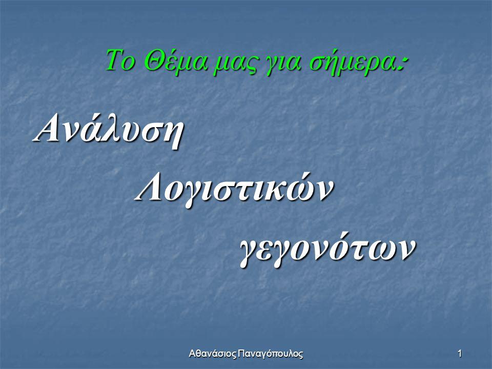 Αθανάσιος Παναγόπουλος1 Το Θέμα μας για σήμερα : Ανάλυση Λογιστικών Λογιστικών γεγονότων γεγονότων