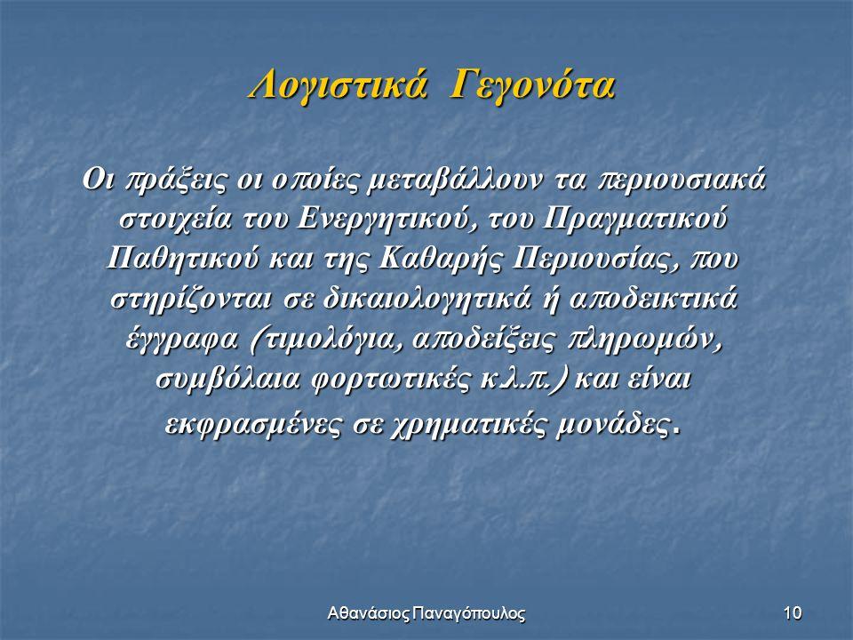 Αθανάσιος Παναγόπουλος 10 Λογιστικά Γεγονότα Οι π ράξεις οι ο π οίες μεταβάλλουν τα π εριουσιακά στοιχεία του Ενεργητικού, του Πραγματικού Παθητικού κ