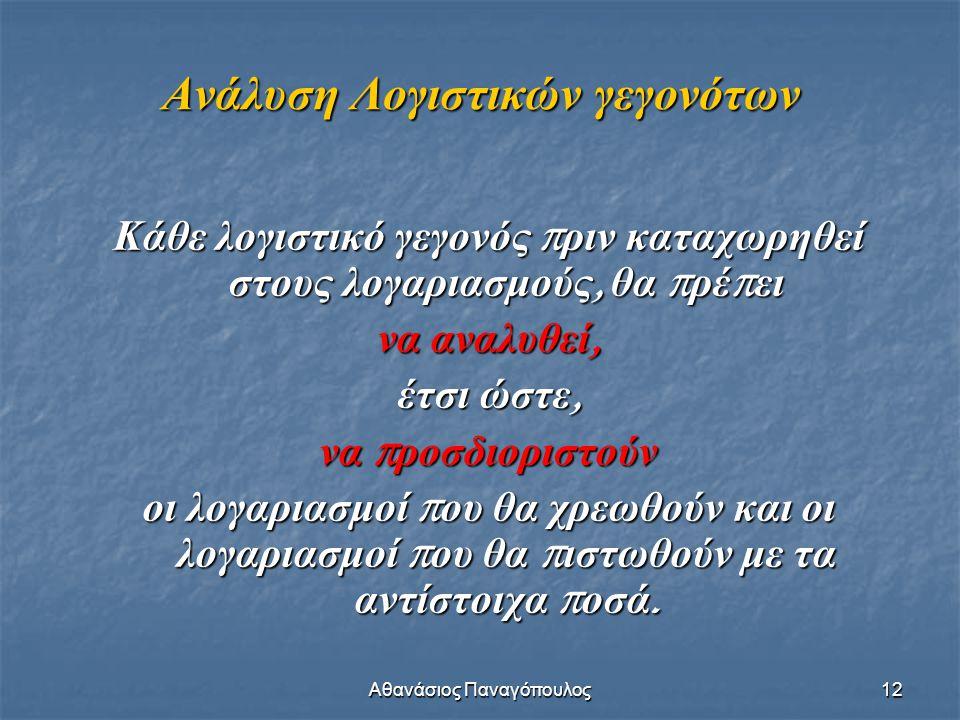 Αθανάσιος Παναγόπουλος12 Κάθε λογιστικό γεγονός π ριν καταχωρηθεί στους λογαριασμούς, θα π ρέ π ει να αναλυθεί, έτσι ώστε, να π ροσδιοριστούν οι λογαρ
