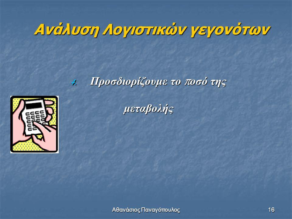 Αθανάσιος Παναγόπουλος16 Ανάλυση Λογιστικών γεγονότων 4. Προσδιορίζουμε το π οσό της μεταβολής
