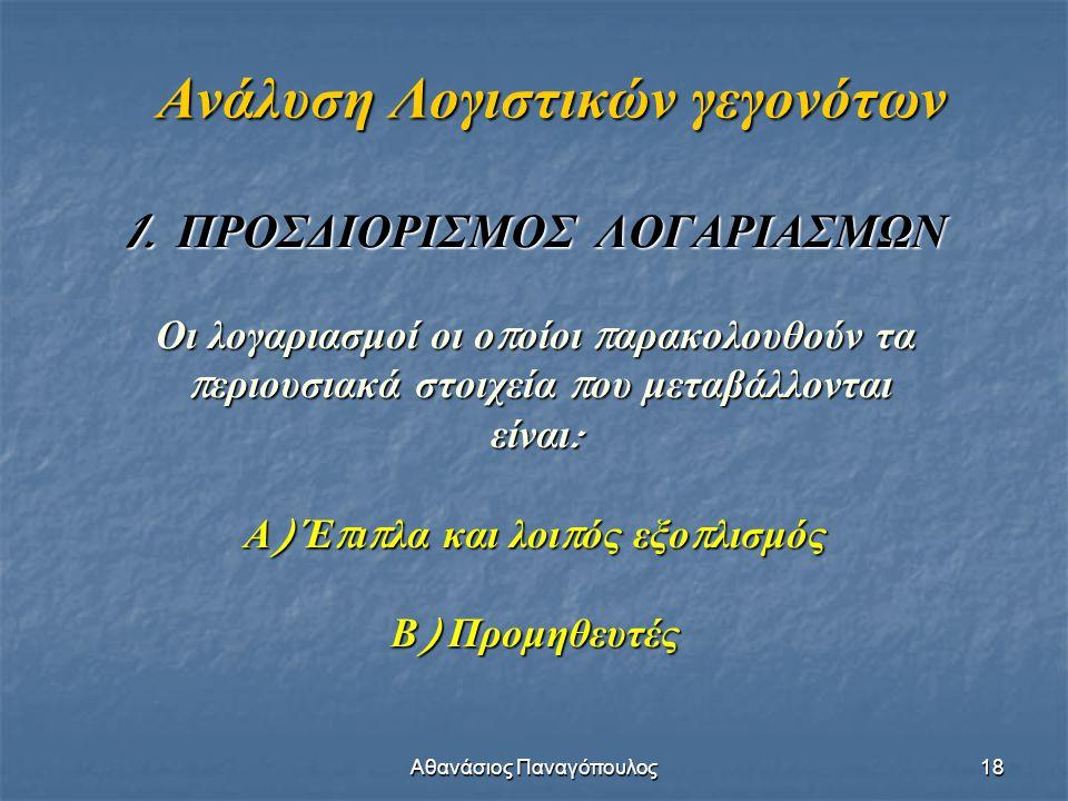 Αθανάσιος Παναγόπουλος18 Ανάλυση Λογιστικών γεγονότων 1. ΠΡΟΣΔΙΟΡΙΣΜΟΣ ΛΟΓΑΡΙΑΣΜΩΝ Οι λογαριασμοί οι ο π οίοι π αρακολουθούν τα π εριουσιακά στοιχεία