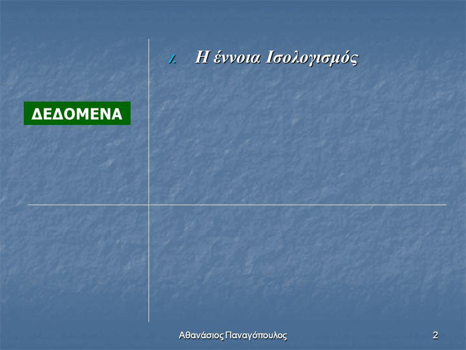 Αθανάσιος Παναγόπουλος2 ΔΕΔΟΜΕΝΑ 1. Η έννοια Ισολογισμός