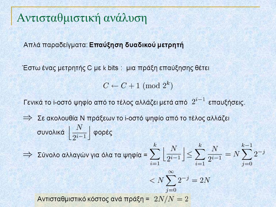 Αντισταθμιστική ανάλυση Απλά παραδείγματα: Επαύξηση δυαδικού μετρητή Έστω ένας μετρητής C με k bits : μια πράξη επαύξησης θέτει Γενικά το i-οστό ψηφίο