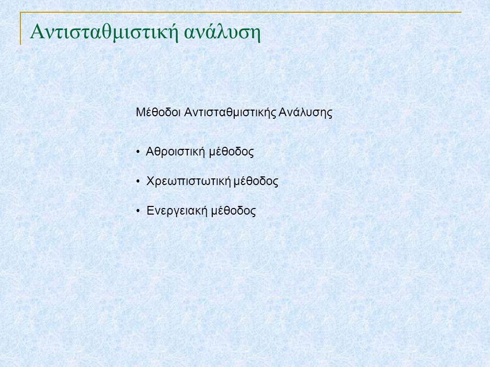 Αντισταθμιστική ανάλυση Μέθοδοι Αντισταθμιστικής Ανάλυσης • Αθροιστική μέθοδος • Χρεωπιστωτική μέθοδος • Ενεργειακή μέθοδος