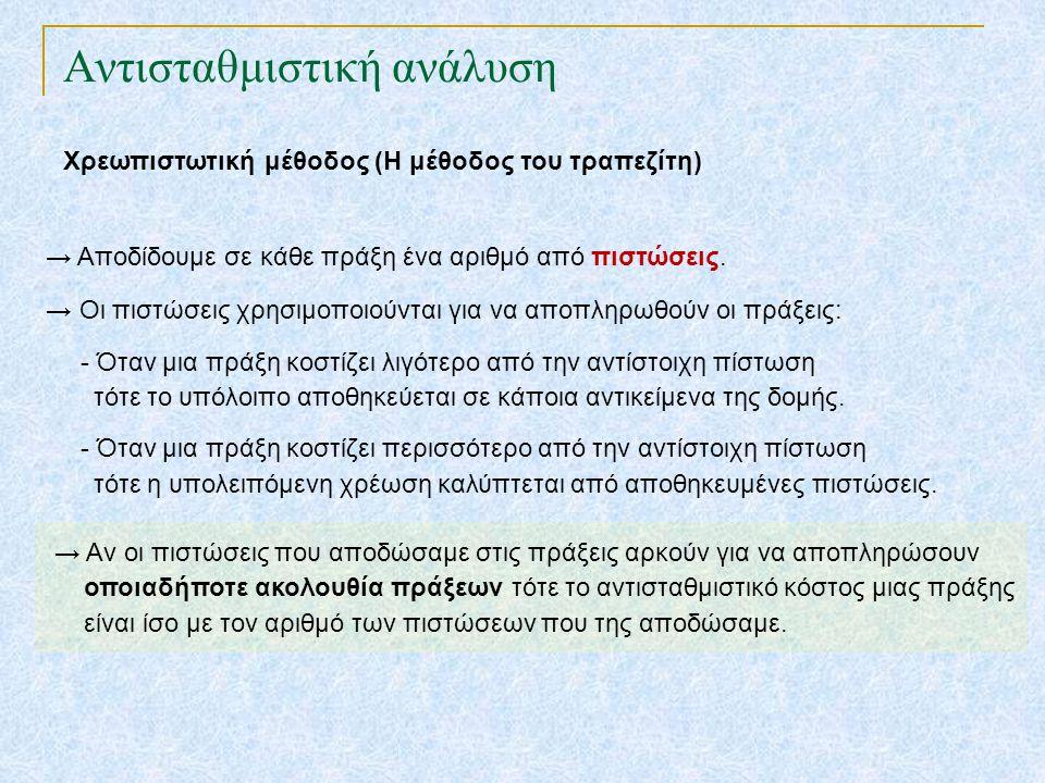 Αντισταθμιστική ανάλυση Χρεωπιστωτική μέθοδος (Η μέθοδος του τραπεζίτη) → Αποδίδουμε σε κάθε πράξη ένα αριθμό από πιστώσεις. → Οι πιστώσεις χρησιμοποι