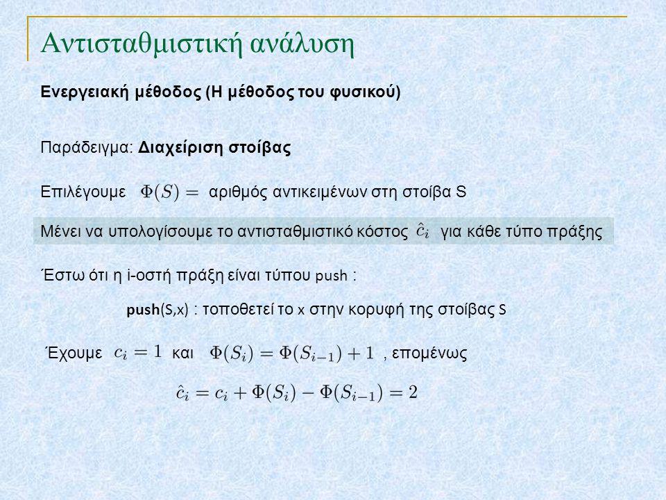 Αντισταθμιστική ανάλυση Ενεργειακή μέθοδος (Η μέθοδος του φυσικού) Παράδειγμα: Διαχείριση στοίβας Επιλέγουμε αριθμός αντικειμένων στη στοίβα S push(S,