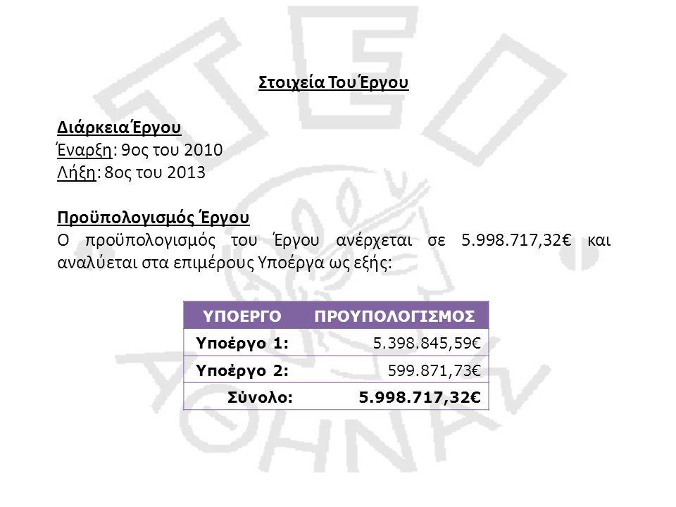 Στοιχεία Του Έργου Διάρκεια Έργου Έναρξη: 9ος του 2010 Λήξη: 8ος του 2013 Προϋπολογισμός Έργου Ο προϋπολογισμός του Έργου ανέρχεται σε 5.998.717,32€ και αναλύεται στα επιμέρους Υποέργα ως εξής: ΥΠΟΕΡΓΟΠΡΟΥΠΟΛΟΓΙΣΜΟΣ Υποέργο 1:5.398.845,59€ Υποέργο 2:599.871,73€ Σύνολο:5.998.717,32€
