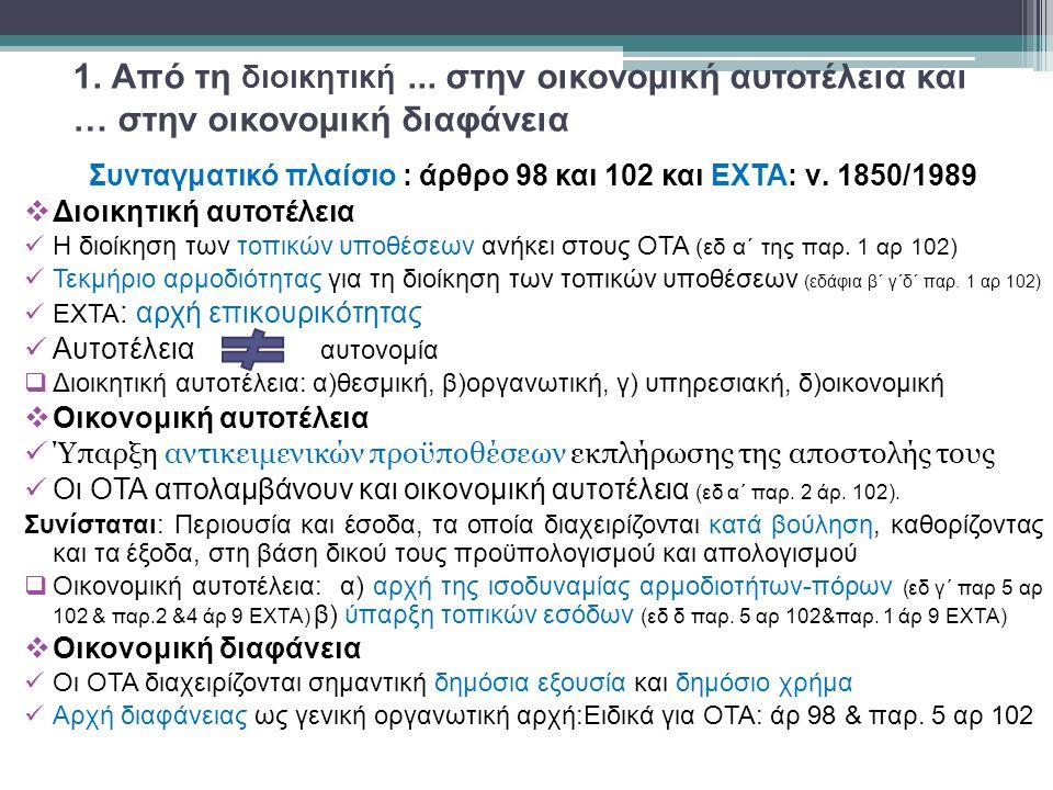 6.Κατασταλτικός δικαστικός έλεγχος 6.1. Η πορεία καθιέρωσης για τους ΟΤΑ από το ΕΣ  Άρ 98 παρ.