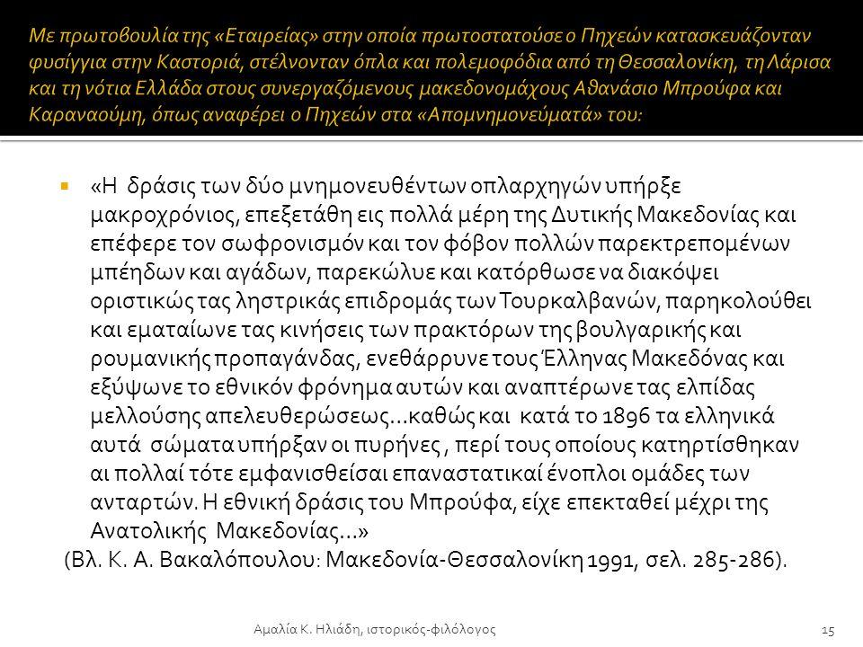  Από τα τέλη του 1886 που κατασχέθηκε, εκ μέρους των τουρκικών αρχών του Μοναστηρίου, η απόρρητη αλληλογραφία πολλών Μακεδόνων αγωνιστών, άρχισαν μαζ
