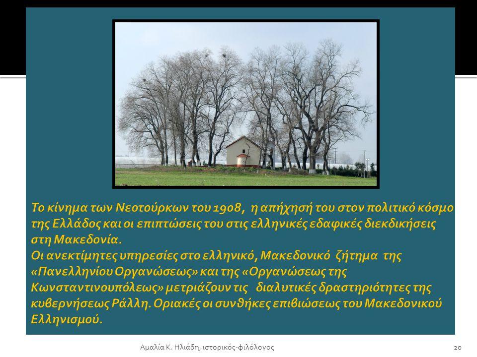 Αμαλία Κ. Ηλιάδη, ιστορικός-φιλόλογος 19 Βορειοδυτική Μακεδονία: τεράστια Μακεδονική Οργάνωση αναστατώνει Τούρκους και Ευρωπαίους. Αναστάσιος Πηχεών: