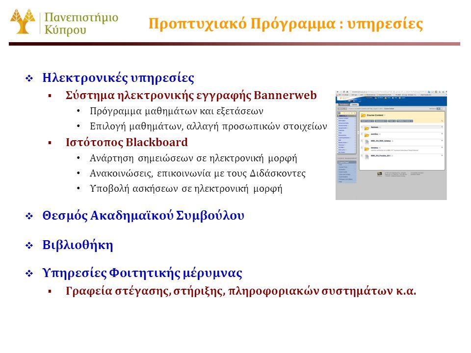 Προπτυχιακό Πρόγραμμα : υπηρεσίες  Ηλεκτρονικές υπηρεσίες  Σύστημα ηλεκτρονικής εγγραφής Bannerweb • Πρόγραμμα μαθημάτων και εξετάσεων • Επιλογή μαθ
