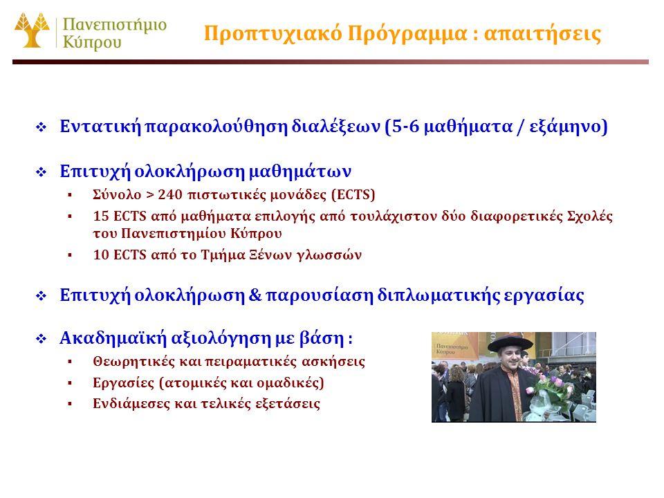 Προπτυχιακό Πρόγραμμα : απαιτήσεις  Εντατική παρακολούθηση διαλέξεων (5-6 μαθήματα / εξάμηνο)  Επιτυχή ολοκλήρωση μαθημάτων  Σύνολο > 240 πιστωτικέ