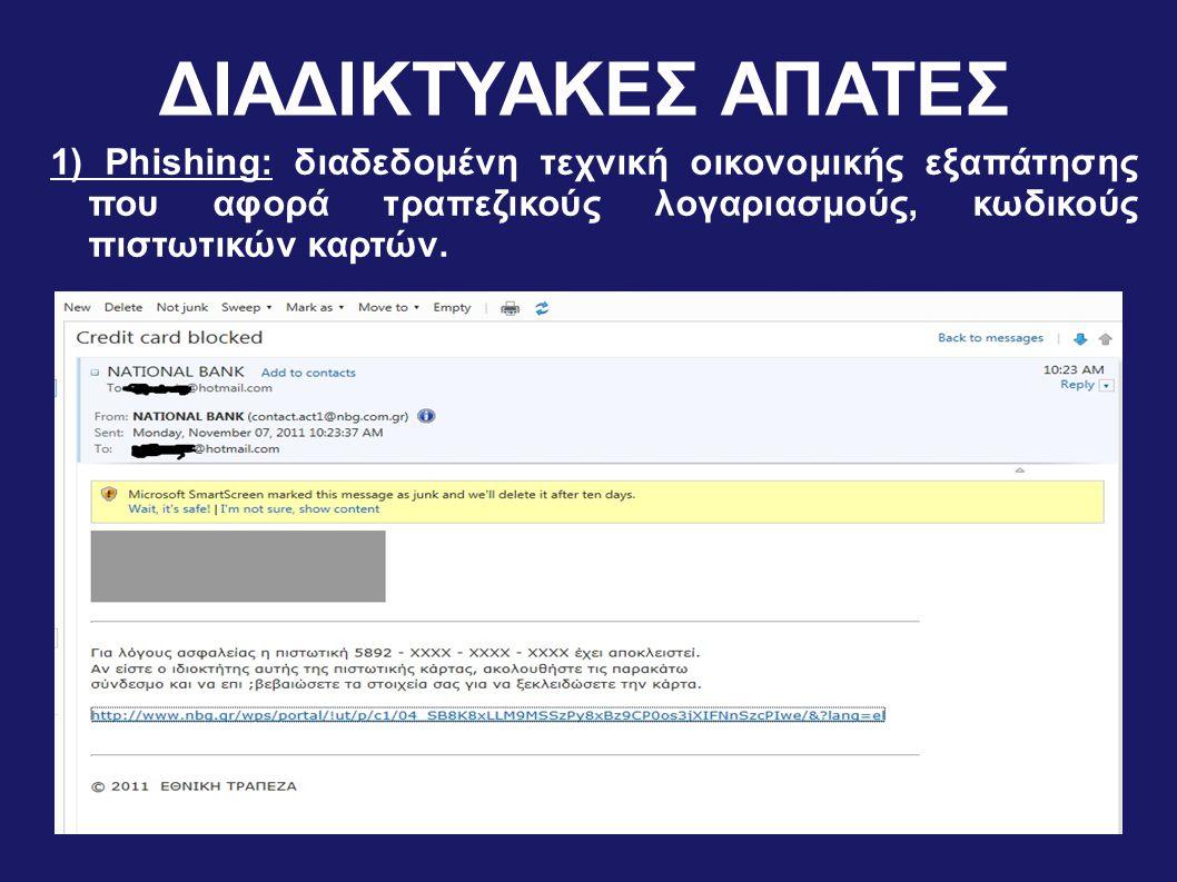ΔΙΑΔΙΚΤΥΑΚΕΣ ΑΠΑΤΕΣ 1) Phishing: διαδεδομένη τεχνική οικονομικής εξαπάτησης που αφορά τραπεζικούς λογαριασμούς, κωδικούς πιστωτικών καρτών.