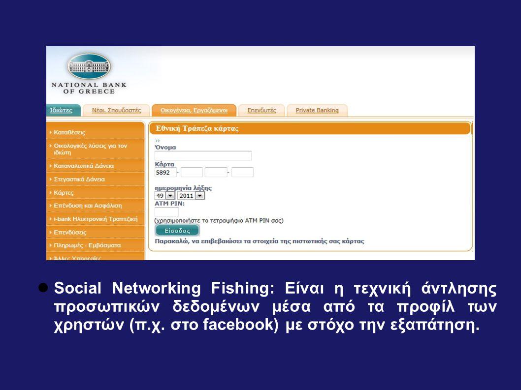  Social Networking Fishing: Είναι η τεχνική άντλησης προσωπικών δεδομένων μέσα από τα προφίλ των χρηστών (π.χ. στο facebook) με στόχο την εξαπάτηση.
