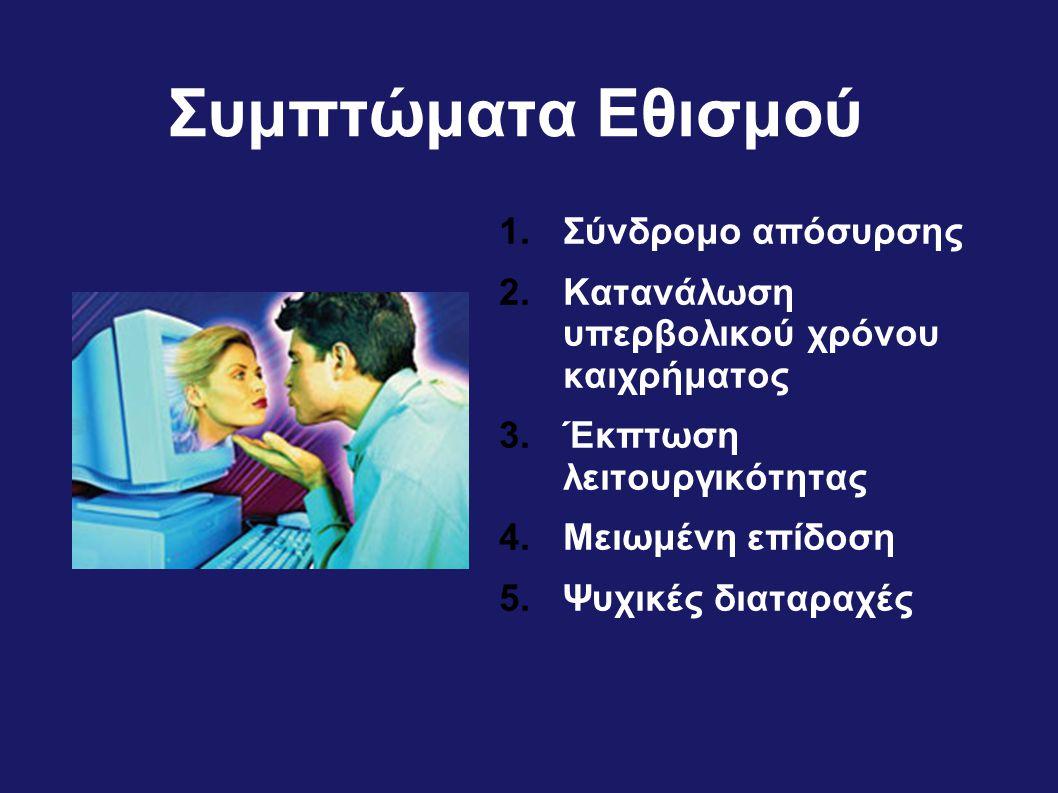 Συμπτώματα Εθισμού 1.Σύνδρομο απόσυρσης 2.Κατανάλωση υπερβολικού χρόνου καιχρήματος 3.Έκπτωση λειτουργικότητας 4.Μειωμένη επίδοση 5.Ψυχικές διαταραχές