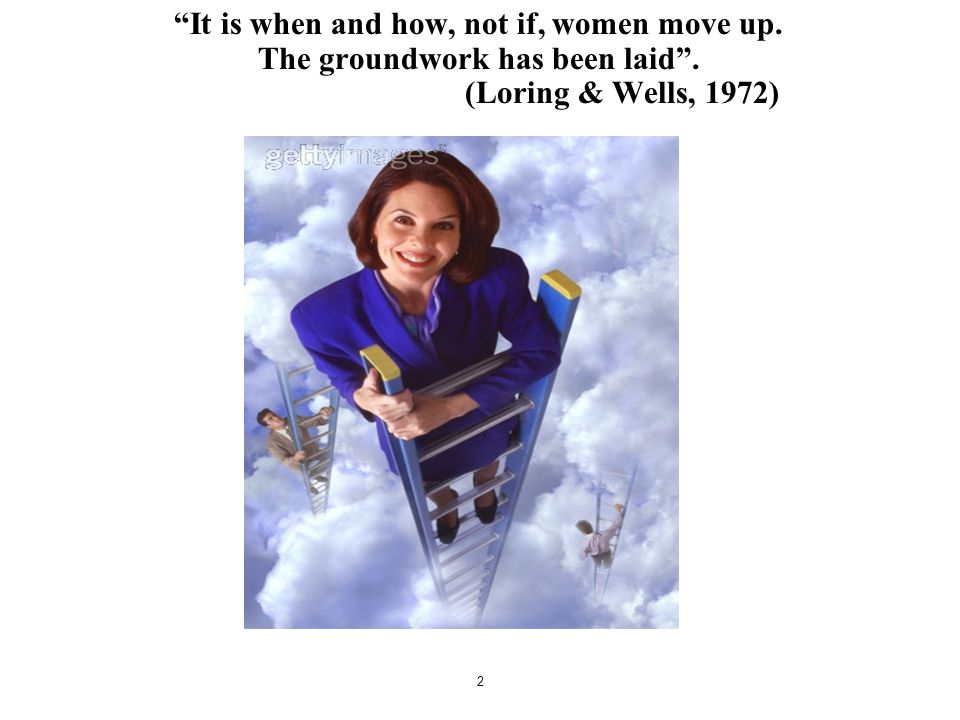 "2 ""It is when and how, not if, women move up. The groundwork has been laid"". (Loring & Wells, 1972)"