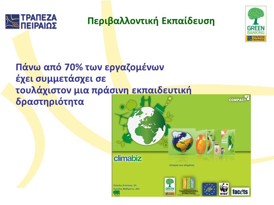 Πάνω από 70% των εργαζομένων έχει συμμετάσχει σε τουλάχιστον μια πράσινη εκπαιδευτική δραστηριότητα Περιβαλλοντική Εκπαίδευση