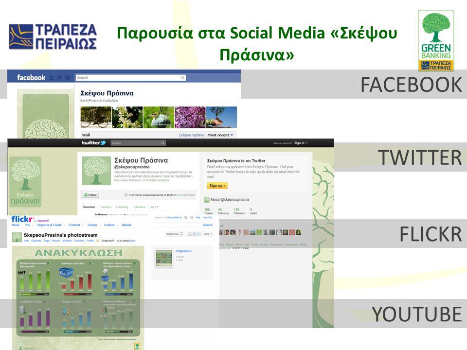 FACEBOOK TWITTER FLICKR Παρουσία στα Social Media «Σκέψου Πράσινα» YOUTUBE