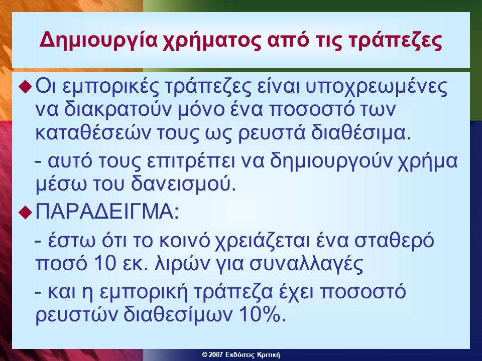 © 2007 Εκδόσεις Κριτική Δημιουργία χρήματος από τις τράπεζες  Οι εμπορικές τράπεζες είναι υποχρεωμένες να διακρατούν μόνο ένα ποσοστό των καταθέσεών τους ως ρευστά διαθέσιμα.