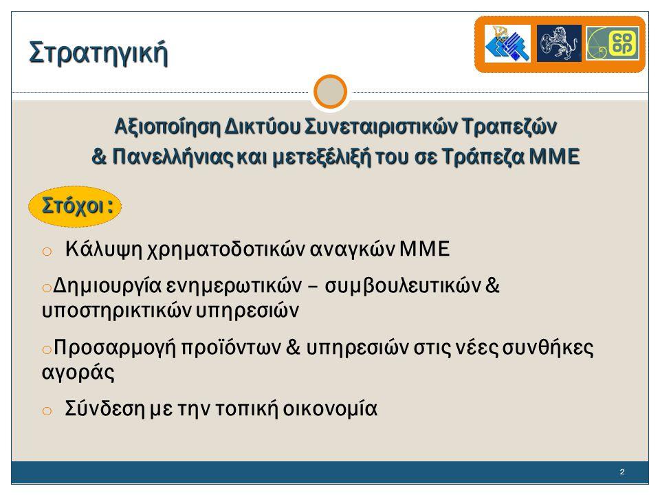 Στρατηγική Αξιοποίηση Δικτύου Συνεταιριστικών Τραπεζών & Πανελλήνιας και μετεξέλιξή του σε Τράπεζα ΜΜΕ Στόχοι : o Κάλυψη χρηματοδοτικών αναγκών ΜΜΕ o Δημιουργία ενημερωτικών – συμβουλευτικών & υποστηρικτικών υπηρεσιών o Προσαρμογή προϊόντων & υπηρεσιών στις νέες συνθήκες αγοράς o Σύνδεση με την τοπική οικονομία 2