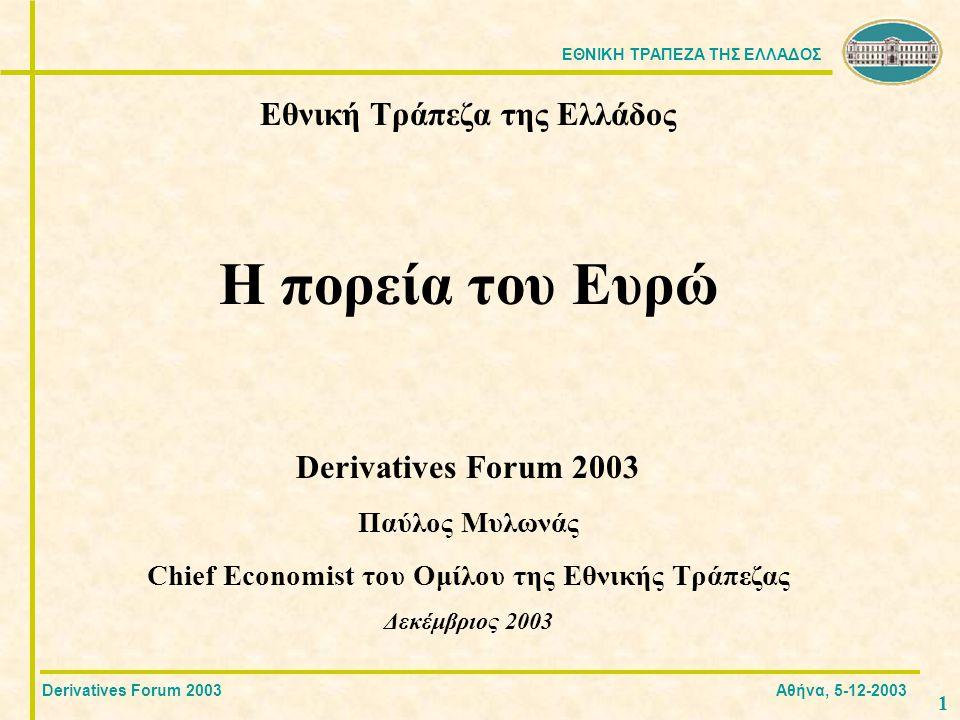 ΕΘΝΙΚΗ ΤΡΑΠΕΖΑ ΤΗΣ ΕΛΛΑΔΟΣ 1212 Ωστόσο, βάσει των προβλέψεων για το ΑΕΠ και τον πληθωρισμό, από τον κανόνα του Taylor προκύπτει ότι το επιτόκιο παρέμβασης θα μειωθεί στο 1,75 στις αρχές του 2004.