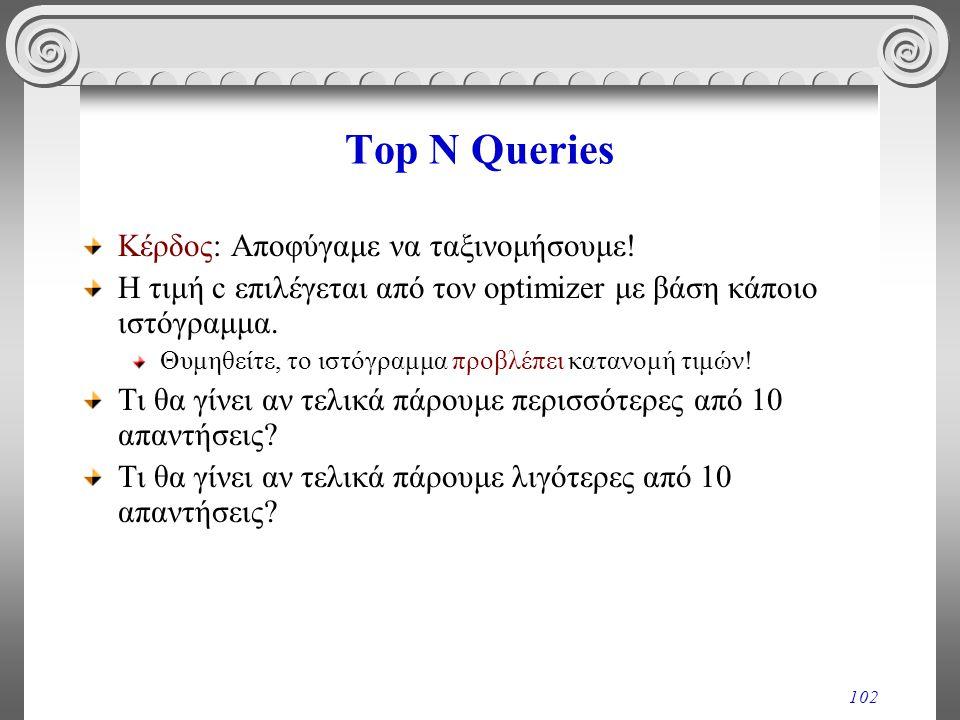 102 Top N Queries Κέρδος: Αποφύγαμε να ταξινομήσουμε! H τιμή c επιλέγεται από τον optimizer με βάση κάποιο ιστόγραμμα. Θυμηθείτε, το ιστόγραμμα προβλέ