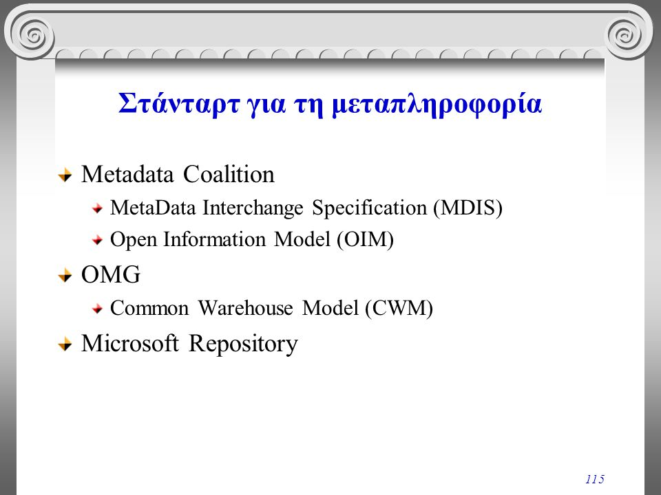 115 Στάνταρτ για τη μεταπληροφορία Metadata Coalition MetaData Interchange Specification (MDIS) Open Information Model (OIM) OMG Common Warehouse Mode