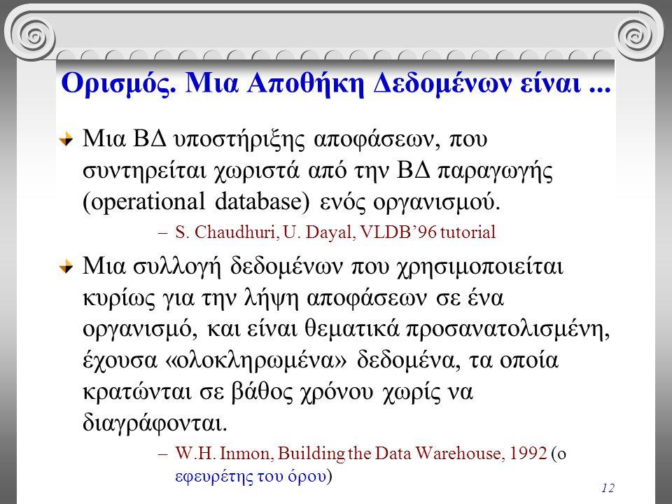 12 Ορισμός. Μια Αποθήκη Δεδομένων είναι... Μια ΒΔ υποστήριξης αποφάσεων, που συντηρείται χωριστά από την ΒΔ παραγωγής (operational database) ενός οργα