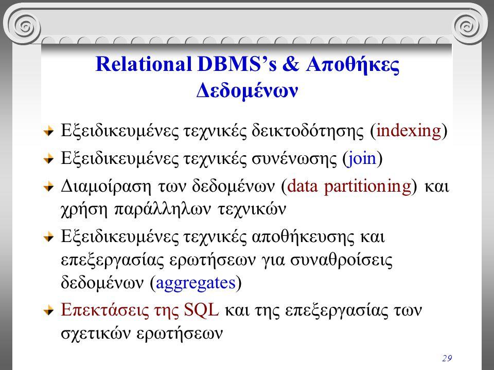 29 Relational DBMS's & Αποθήκες Δεδομένων Εξειδικευμένες τεχνικές δεικτοδότησης (indexing) Εξειδικευμένες τεχνικές συνένωσης (join) Διαμοίραση των δεδ