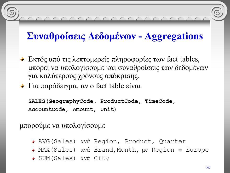 50 Συναθροίσεις Δεδομένων - Aggregations Εκτός από τις λεπτομερείς πληροφορίες των fact tables, μπορεί να υπολογίσουμε και συναθροίσεις των δεδομένων